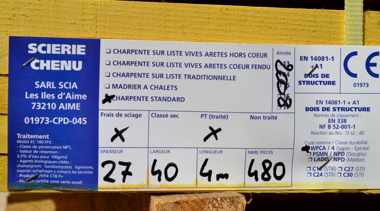 Fiche de classement des bois - Scierie Chenu